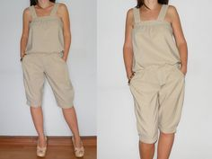 Casual Jumpsuit Overalls Capri Pants in Beige for by KSclothing