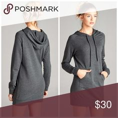 It's HERE! French Terry hoodie tunic! In heather gray relaxed fit with kangaroo pouch and hoodie in a darling tunic! Sweaters