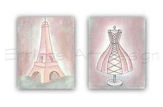 Paris Eiffel Tower Art Print, Pink Dress wall Art, SET OF 2, French Nursery decor, Girls room decor, Shabby Chic Nursery, Paris Nursery art