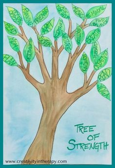 Tree of Strength (Creativity in Therapy) - This art therapy directive helps clients to identify their personal strengths, coping skills, and supportive people to get through a difficult time. Great creative activity for mental health or trauma treatment, in individual therapy or group therapy.