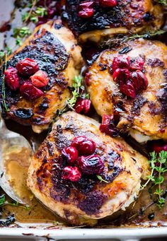 Balsamic Roasted Chicken with Cranberries prepped and cooked in ONE PAN! Yes, your holiday table is complete. This Paleo Cranberry Balsamic Roasted Chicken is a simple yet healthy dinner. A sweet tangy marinade makes this roasted chicken extra juicy and extra crispy. One of our go to meals for meal prep too! Oh and because we prefer chicken over turkey any day.