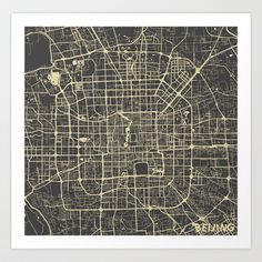 Beijing Map #1 Art Print by Map Map Maps - $18.00---------------------------If you like my work, you can folllow my Facebook account : https://www.facebook.com/MapMapMaps