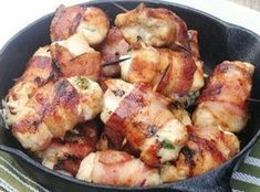 Bacon-Wrapped Jalapeno Chicken Bites: Another yummy and not too difficult dinner tonight! Chicken Bites, Chicken Wraps, Chicken Tenders, Chicken Poppers, Chicken Breasts, Chicken Tenderloins, Chicken Thighs, Stuffed Jalapenos With Bacon, Healthy Recipes
