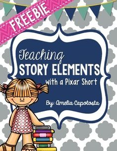 Teaching story elements can get monotonous and boring over time for our kiddos so I try and make it fun! Teaching Story Elements with a Pixar Short - FREEBIE. As a culminating assessment, practice, or. Reading Lessons, Writing Lessons, Reading Strategies, Reading Skills, Reading Comprehension, Comprehension Strategies, Writing Skills, Teaching Plot, Teaching Themes