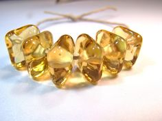 Amber Gold  Chunky Squares  Handmade Lampwork Glass by VedasBeads, $12.00