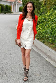 White Dress With Red Jacket
