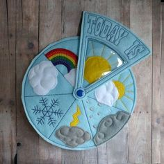 Today's Weather Wheel, Teach Weather to Children, For Preschool, Home School, Embroidered Acrylic Felt and Vinyl, Educational, Made in USA