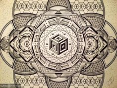 Artwork of Glenn Thomson Sacred Geometry Symbols, Sacred Geometry Tattoo, Geometric Drawing, Geometric Shapes, Mandala Design, Mandala Art, Magic Circle, Zentangle Patterns, Sacred Art