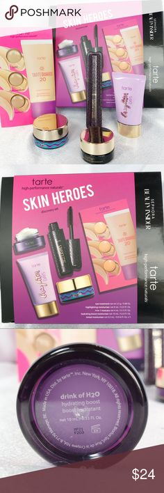 🆕Tarte Skin Heroes Discovery Set🆕 New in box Tarte Skin Heroes Discovery Set includes travel-size versions of Tarte's bestselling products:  • Maracuja C-Brighter Eye Treatment 0.08oz • Drink of H2O Moisturizer 0.33oz • Brighter Days Highlighting Moisturizer 0.25oz • Lights, Camera, Lashes Mascara 0.13oz  • Tarte Guard Tinted Moisturizer sample card  Check out my other listings to bundle and save! tarte Makeup