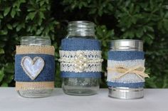 Note- Quart size jars, I would use wide burlap ribbon, cotton lace ribbon and the strand of pearl ribbon and the little pearl flower.