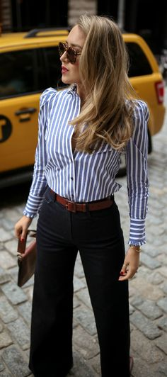 MEMORANDUM Let's Discuss The Puffy Shoulder Trend // Blue + white stripped button down shirt with pu Dark Blue Jeans Outfit, Blue Jean Outfits, Fall Fashion Trends, Autumn Fashion, Work Fashion, Fashion Outfits, Brown Leather Skirt, Inspiration Mode, Classy Outfits