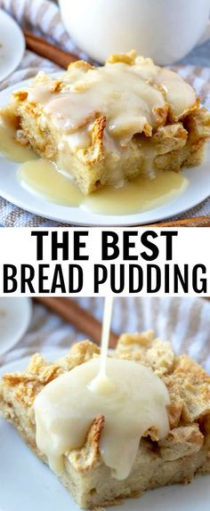 When it comes to easy recipes this Bread Pudding couldn't get any simpler. Filled with cinnamon and nutmeg this makes the perfect breakfast or dessert recipe. breakfast breadpudding breadpuddingsauce brunch dessert baking baked via 104216178863979512 Pudding Desserts, Easy Desserts, Delicious Desserts, Yummy Food, Healthy Desserts, Flourless Desserts, Healthy Meals, Gourmet Recipes, Cooking Recipes