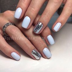 Beautiful nails 2017, Blue and silver nails, Fashion nails 2017, Gentle winter nails, Hardware nails, Ideas of winter nails, Nails with stickers, New year nails ideas 2017