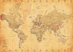 generic vintage world map maps giant poster print 55x39 wall decor ebay