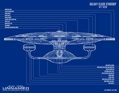 Blueprint schematic, stern view, of U.S.S. Enterprise NCC-1701 D