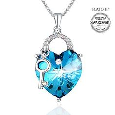 Mothers Day Gift Birthday Mom Women Girl Crystal Heart Blue Pendant Necklace NEW #PendantNecklace #Pendant
