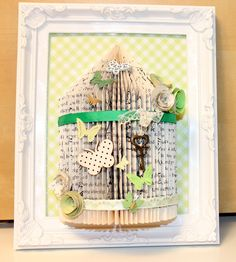 Unusual handmade gift personalised bird cage book fold art framed 10 x 8 (22)
