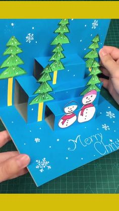 Three dimensional Christmas cards Diy Christmas Cards Pop Up, Christmas Cards Handmade Kids, Christmas Arts And Crafts, Christmas Projects, Holiday Crafts, Christmas Cards For Children, Christmas Card Ideas With Kids, 3d Christmas Tree Card, Christmas Origami
