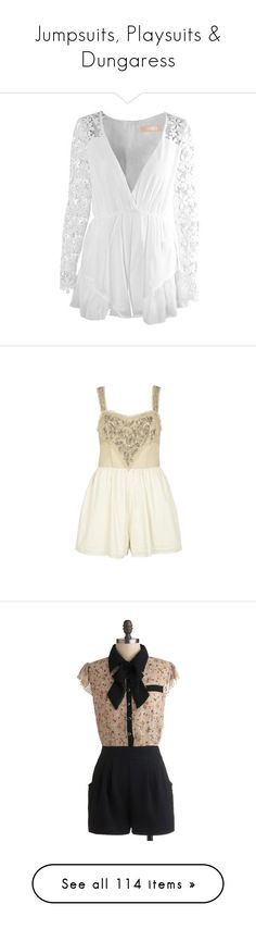 """""""Jumpsuits, Playsuits & Dungaress"""" by enchantedrose33 ❤ liked on Polyvore featuring jumpsuits, rompers, dresses, playsuits, jumpsuit, playsuit jumpsuit, lace jumpsuits, lace rompers, jump suit and retro rompers"""