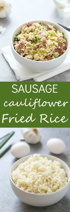 Sausage Cauliflower Fried Rice - A delicious and healthy alternative to the popular dish. Loaded with chicken sausage, cauliflower rice, eggs, and seasonings! Made in 20 minutes or less! Low-carb and keto taste buds approved.