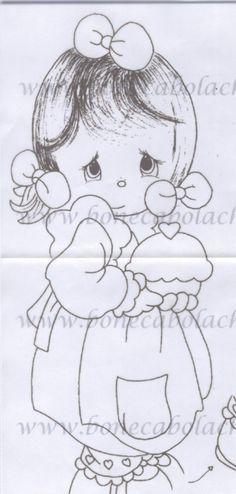 meninas de vestidinho de crochê e pintura em tecido com perninhas a mostra - Pesquisa Google