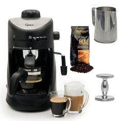 Capresso 303.01 Capresso 4-cup Espresso Cappuccino Machine with New 20 oz Espresso Coffee Milk Frothing Pitcher   Espresso Tamper (CD) and Whole Bean Coffee (8.8oz) Swiss Roast Regular >>> For more information, visit image link.