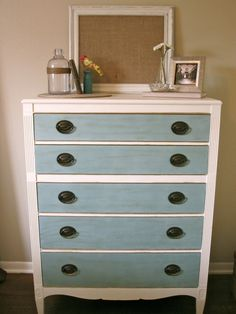 old white & duck egg dresser with gold gilding