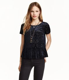 Burnout-patterned Velvet Top   H&M US  peplum