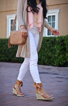 white jeans, long linen cardigan, gucci soho disco leather bag, vince camuto leddy ankle wrap wedge sandals, phaara necklace, petite fashion blog, spring outfit, summer outfit, casual outfit - click the photo for outfit details!