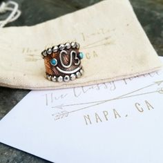 Copper and turquoise brand ring by The Classy Trailer On FB and Instagram @theclassytrailer