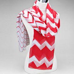 Red & White Chevron Print Scarf by NecksOfLuxuryScarfs on Etsy