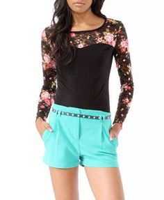 Colored Lace Trimmed Top