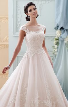 Bateau Neckline Embroidered Lace Gown by David Tutera