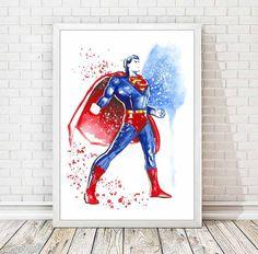 Superman Print Man of Steel Super Hero Watercolor by DROPINDROP