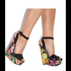 New Qupid floral colorful wedges  Adorable and so pretty! The colors are amazing! Shoe dazzle also made this same wedge but this is Qupid brand. I have sizes 6.5' 7 and 7.5 available. Just ask  Qupid Shoes Wedges
