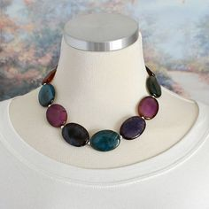 Multicolor Agate Necklace Chunky Beaded Blue Pink by KallosDesigns, $79.00