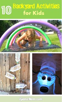 10 backyard activities kids love: water play, quiet play, science activities, art activities, … Great cross age outdoor fun in spring and summer for kids and for the whole family. Outside Activities, Outdoor Activities For Kids, Summer Activities, Toddler Activities, Games For Kids, Science Activities, Crafts For Kids, Family Activities, Science Art