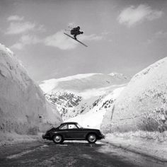 Skier and Porsche 356 Coupe.