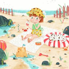 Sunflower Summer | children's illustration by Sofia Cardoso #kidlitart #illustration #summer #beach