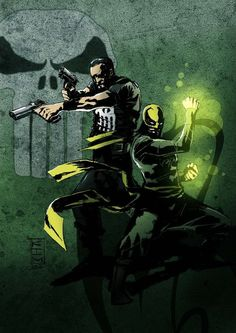 The Punisher & Iron Fist - Kim Jacinto Dc Comics Vs Marvel, Marvel And Dc Characters, Marvel Heroes, The Punisher, Comic Book Heroes, Comic Books Art, Comic Art, Book Art, Detective