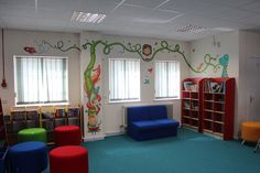 Wall Art Illustration for Longwell Green Primary School Library