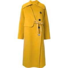 Le Ciel Bleu 'Handsome Wrap' trench coat ($664) ❤ liked on Polyvore featuring outerwear, coats, yellow, le ciel bleu, yellow coat, wrap trench coat, wrap coat and trench coat