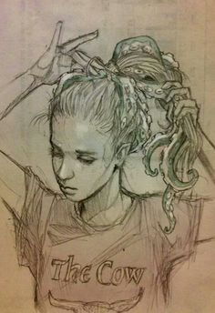 I love this!!!!  That is exactly how Imagine my hair, as tentacles :)  Sketch by Chiara Bautista aka Milk