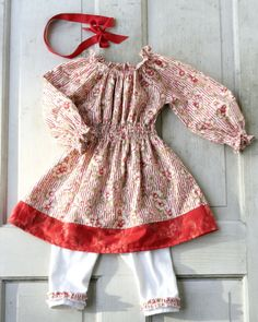 Peppermint Candy Cane Peasant Dress