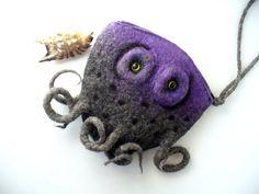 Jellyfish Felt Coin Purse Pouch Clutch Makeup Bag by MSbluesky