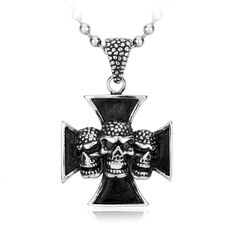 Iron Cross with 3 Skulls Pendant Skull Pendant, Skull Jewelry, Skulls, Iron, Pendants, Glasses, Diamond, Bracelets, Silver