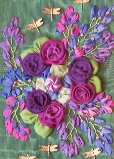 Elegant Additions Images: silk ribbon embroidery with ribbon worked flowers and leaves