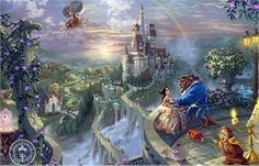 """Thomas Kinkade Disney Dreams Collection Signed and Numbered Limited Edition Giclee:""""Beauty and the Beast - Falling In Love"""""""