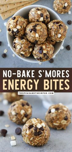 Looking for a healthy treat that would satisfy your sweet tooth? S'mores Energy Bites are an easy no-bake snack that only takes 10 minutes to make! Kids and adults love these high-protein energy balls. Save this this healthy food idea! Protein Energy Bites, No Bake Energy Bites, Energy Snacks, Protein Snacks, Energy Balls, High Protein, Healthy Snacks, Healthy Protein Balls, Oatmeal Energy Bites