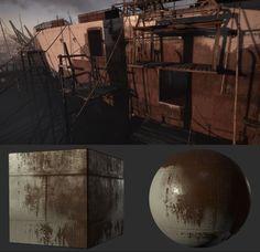 Ship Hull Texture/Material Example, Bobby Rice on ArtStation at https://www.artstation.com/artwork/ship-hull-texture-material-example